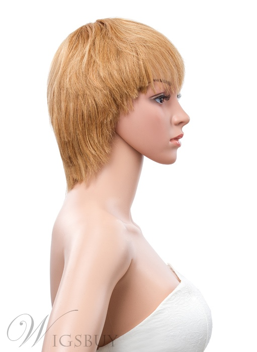 Unique Short Straight 8 Inches Capless Human Hair Wig