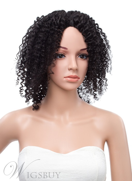 16 Inches Kinky Curly Lace Front 100% Human Hair Wig