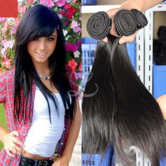 100% Virgin Indian Hair Extensions Straight Human Hair Weave 3 Bundles