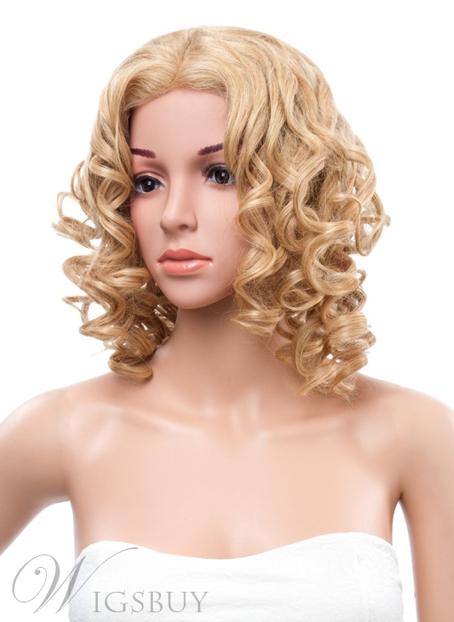14 Inches Medium Curly Hairstyle Lace Front Human Hair Wig