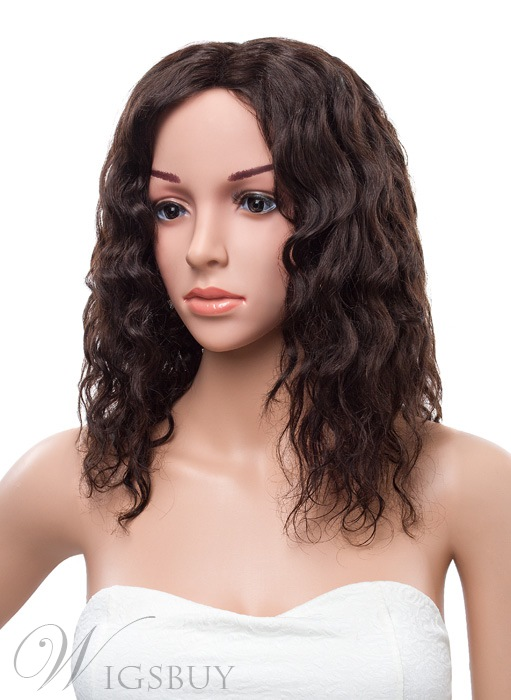 16 Inches Natural Curly Lace Front Human Hair Wig