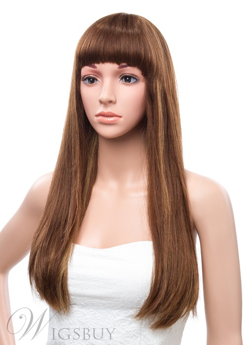 20 Inches Long Silky Straight Capless Human Hair Wig