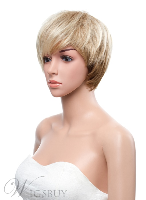 10 Inches Short Straight with Full Bang Capless Synthetic Wig
