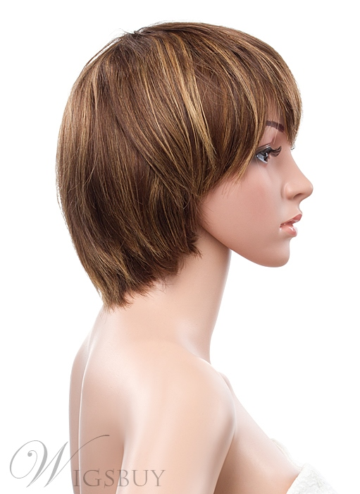 Short Straight 10 Inches Capless Human Hair Wig
