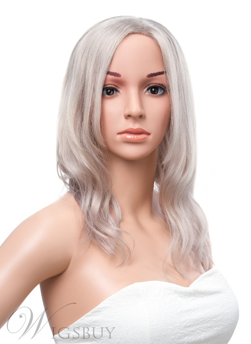 16 Inches Medium Wavy Lace Front Granny Human Hair Wig