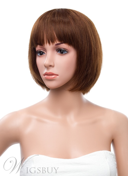 Youthful 10 Inches Bob Straight Capless Human Hair Wig