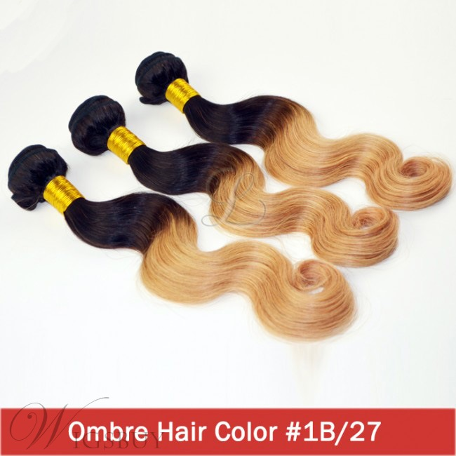 Brazilian Ombre Hair Body Wave Virgin Human Hair Weave 3 pcs 1b/27