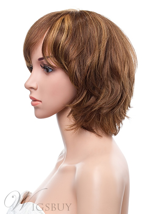 New Arrival 12 Inches Medium Layered Straight Capless Human Hair Wig