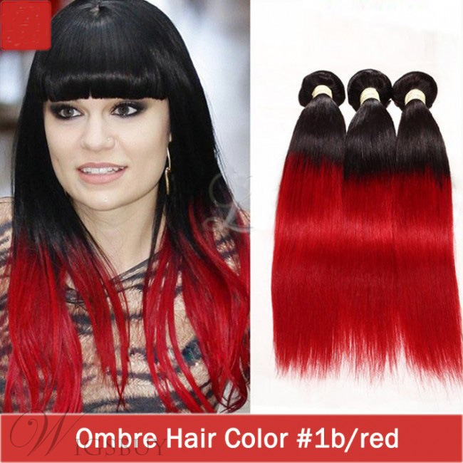 Ombre Hair Weave Red Color Straight Remy Human Hair Extensions 3 Pcs