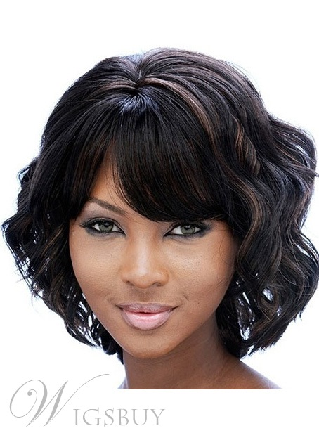 African American Women Middle Length Body Wave Full Bang Capless Synthetic Wigs 12 Inches