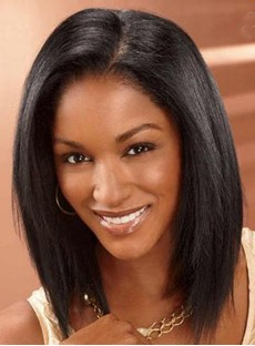 Mid-Length Smooth Straight 100% Human Hair Lace Front Wigs 14 Inches