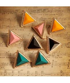 Triangle Shaped Acrylic Decorated Stud Earrings