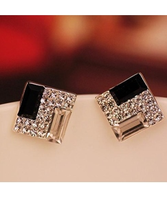 Black and White Rhinestone Square Stud Earrings
