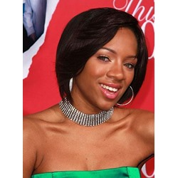 Black Women Asymmetric Bob Hairstyle Synthetic Lace Front Wigs 10 Inches
