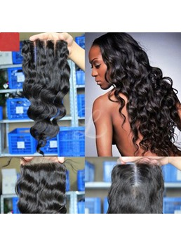 Virgin Human Hair Loose Wave Lace Hair Closures Middle Part