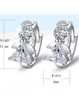 Synthetic Crystal Angel Design Earrings