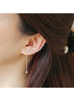 Shining Rhinestone Decorated with Tassel Earring(Price for One)