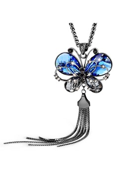 Fashion Butterfly Pendant Tassel Necklace