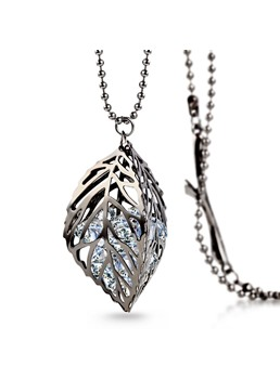 Fashion Hollow-out Leaf Diamond Necklace