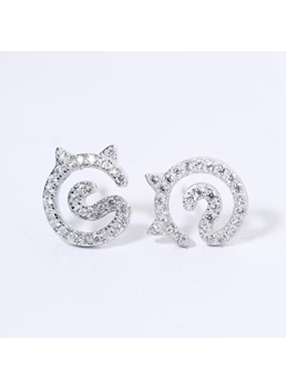 925 Silver Cat Stud Earrings