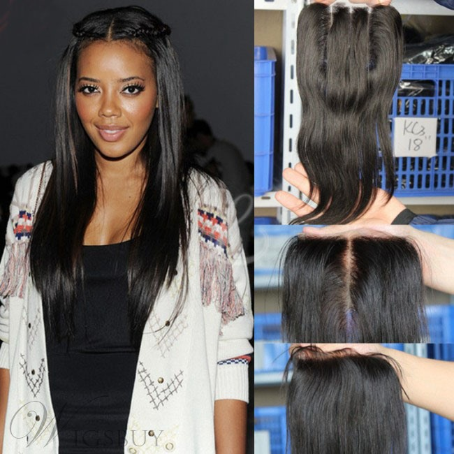Human Hair Extensions Natural Straight Lace Closure Free Parting