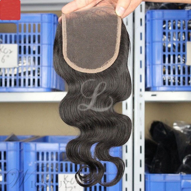 Human Hair Extensions Body Wave Middle Part Lace Closure Natural Black Hair