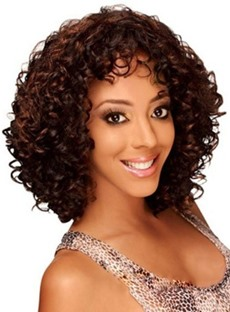 Middle Length Kinky Curly Human Hair Capless Wigs 12 Inches
