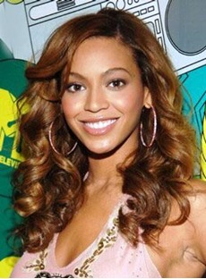 Beyonce Sexy Medium Wavy 18 Inches Charming Golden Brown Lace Wig