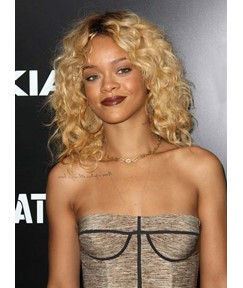 Rihanna Hairstyle 100% Brazilian Remy Hair Full Lace Wig 18 Inches Curly Hairstyle