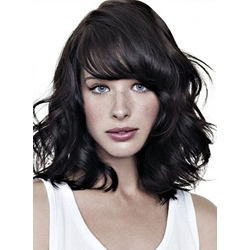 Boutique Hairstyle Super Smooth Silky Medium Wavy Wig 100% Human Hair 12 Inches for Office Beauty