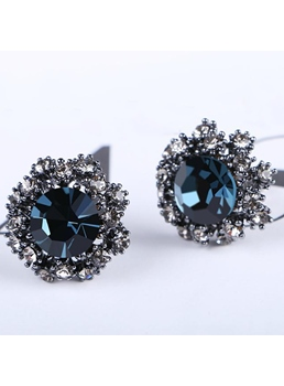 Zircon Blue Stud Earrings