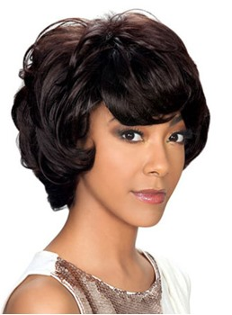 150% Density Afro Short Wave Synthetic Capless Wigs 10 Inches