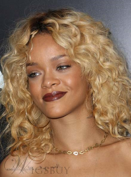 Rihanna Hairstyle Human Hair Full Lace Wigs 18 Inches