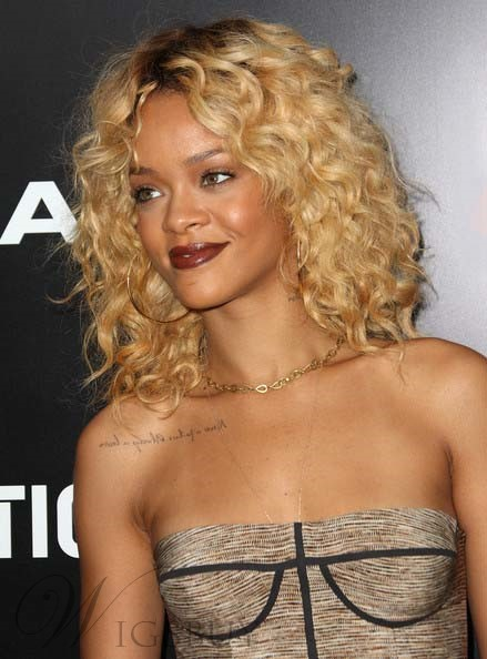 Rihanna Hairstyle Human Hair Full Lace Wigs 18 Inches Curly Hairstyle