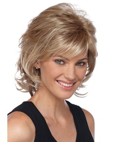 12 Inches Middle Length Layered Wave Human Hair Capless Wigs