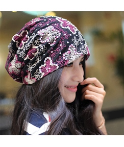 Diamond Floral Embroidery Skullies & Beanies Hat