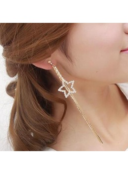Five-pointed Star Pendant with Rhinestone Drop Earrings