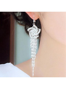Graceful Flower Shaped Rhinestone Decorated with Tassel Earrings