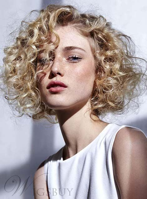 Elegant Short Curly Full Lace Wig Human Hair 12 Inches