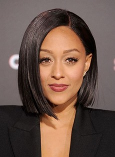 Tia Mowry Popular Lob Hairstyle Mid-length Straight Side Swept Synthetic Lace Front Wigs 12 Inches