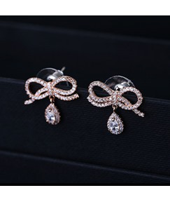 Bowknot Shaped with Rhinestone Pendant Earrings
