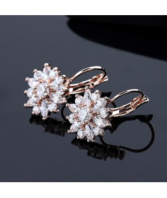 Floral Rhinestone Decorated Women's Earrings