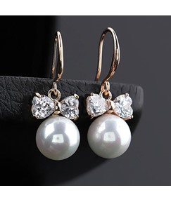 Bowknot Shaped with Pearl Drop Earrings