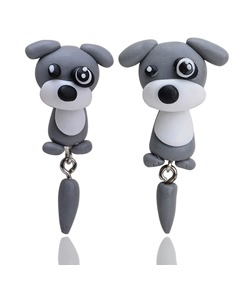 Cartoon Dog Shaped Polymer Clay Earrings
