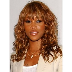 100% Human Hair Mid-length Curly Full Bang Capless Wigs 16 Inches