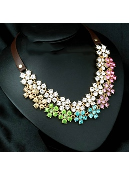 Floral Colored Rhinestone Decorated Necklace