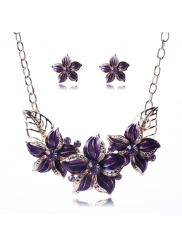 Big Flower Pendant Alloy Jewelry Set
