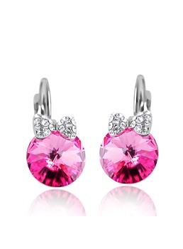 Round Crystal with Bowknot Drop Earrings