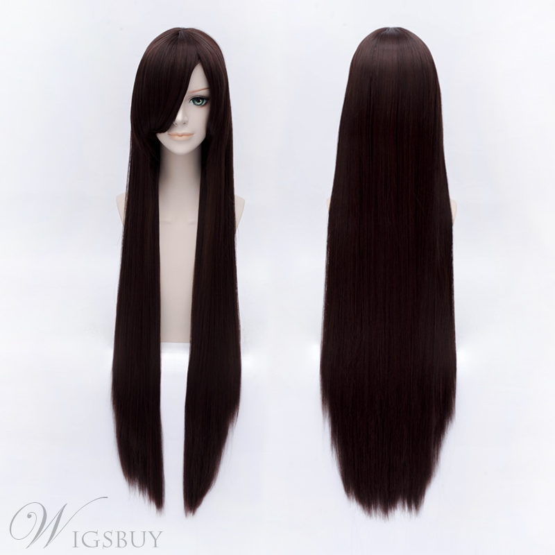 Cosplay Long Straight Dark Brown Wig 40 Inches