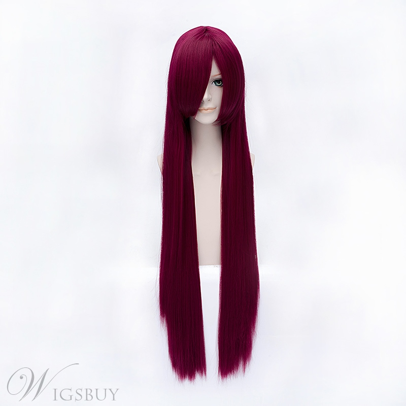 Steins Gate Makise Kurerirusu Wine Red 32 Inches Wig